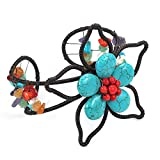 AeraVida Floral Muse Organic Handmade Simulated Turquoise and Reconstructed Coral Flower Cuff Bracelet