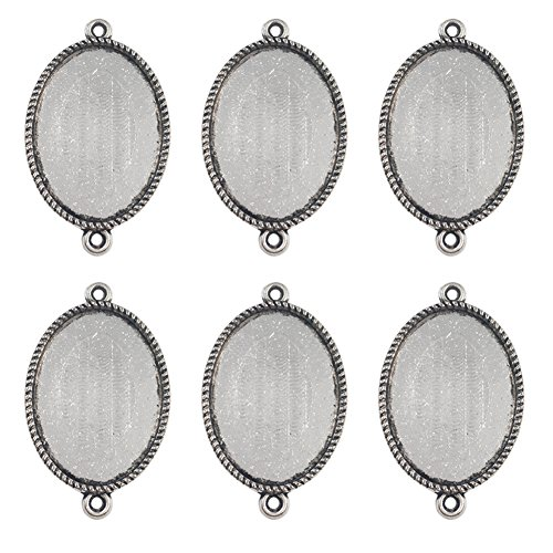 Dcatcher 24 PCS Bezel Pendant Trays Double Loops Oval Cabochon Settings Trays Pendant Blanks, Silver (Earring Oval Setting Cabochon)