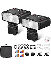 Godox MF12 Macro Flash 2-Light Kit, 2.4 GHz Wireless Control, 0.01 to 1.7s Recycling Time, 3.7V/6.29W Lithium Battery, Compatible with Nikon Sony Canon Fuji Olympus and Panasonic, W/Modeling Light