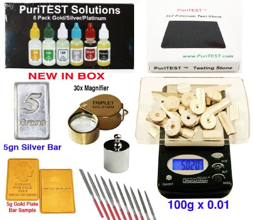 Digital Scale + Gold/Silver/Platinum Testing Kit + PRO Test Stone + Eye Loupe + 10pcs File Tool Set + Real Solid Silver/Plated Fake Gold (Real Diamond Ct 0.05)