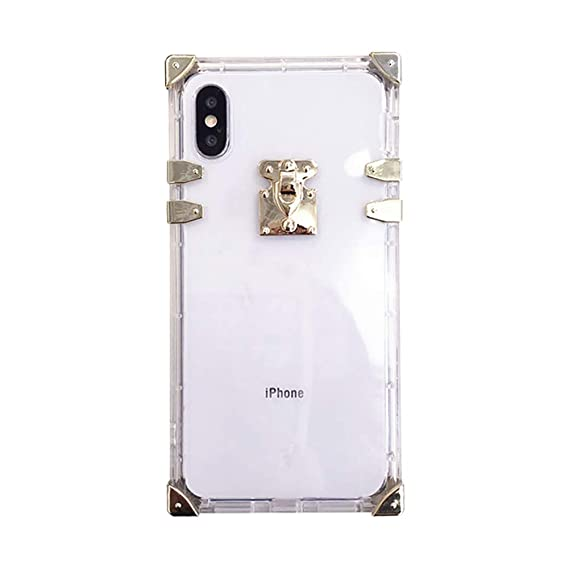 newest collection d84be 4a1fb Square Case for iPhone Xs 10 Luxury Transparent Clear Cover for iPhone 7  Plus 8plus Soft Flexible TPU Shockproof Trunk Back Shell (Crystal Clear, ...