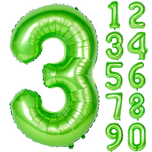 40 Inch Green Large Numbers 0-9 Birthday Party Decorations Helium Foil Mylar Big Number Balloon Digital 3]()