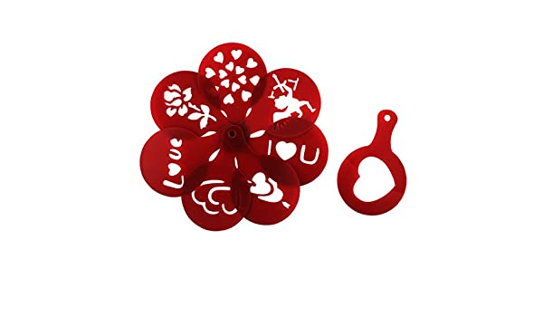 sourcing map Molde Rojo Oscuro 8 En 1 con Impresión Artística De Café De Plástico De Cocina Bricolaje Regalo De San Valentín: Amazon.es: Coche y moto