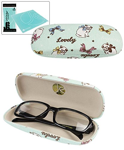 JAVOedge Blue Cat and Ribbon Pattern Eyeglass / Reading Glass Hard Case