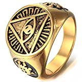 MENDINO Mens Triangle Pyramid Eye Symbol Gold Colour Stainless Steel Ring with Brands Pouch