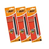 BIC Velocity Velocity, A.I., Pro+ Widebody Retractable Ballpoint Pen Refills, Medium Point, Black Ink, Pack of 6