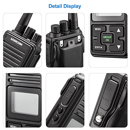 SAMCOM FPCN10A Walkie Talkie 20 Channel Wireless Intercom with Group Button Two Way Radio,UHF 400-470MHz with 2.5 Miles Range 1 Unit