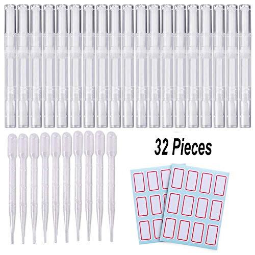 20PCS 3ML Transparent Twist Pens, 10 Eyelash Growth Liquid Tube Container Cosmetic Empty Lip Gloss Pens with Brush Tip Applicator Cuticle Oil Nail Polish Nutrition Pen with 2 Tag Labels Stickers