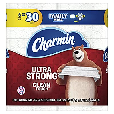 Charmin Ultra Strong Clean Touch Toilet Paper Family Mega Roll, 6 Count