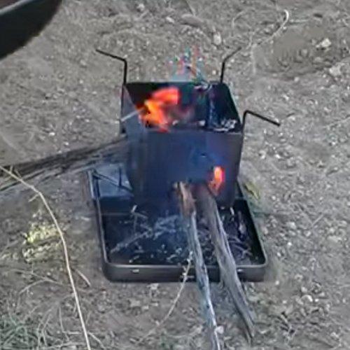 Firebox acciaio inox Nano stufa legno combustibile Burning//Multi pieghevole Camp//Bushcraft Kit X-Case