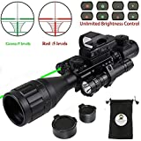 Hunting Rifle Scope Combo C4-16x50EG Dual Illuminated with Green Laser Sight 4 Holographic Reticle Red/Green Dot for Weaver/Rail Mount (Updated 4-16x50EG Green Laser)