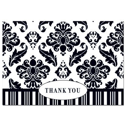 amazon com black white damask thank you notes everything else