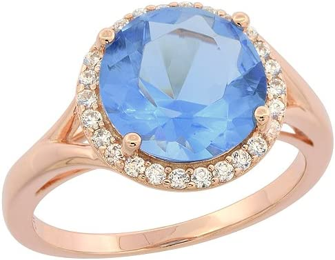 Halo Blue Sapphire /& Cz .925 Sterling Silver Ring Sizes 6-9