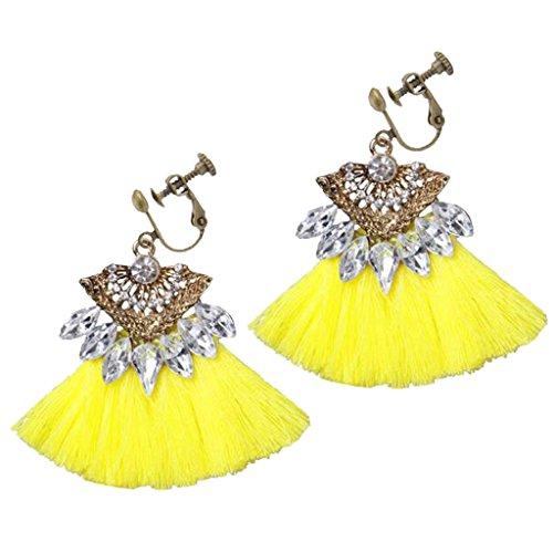 Vintage Bohemian Crystal Flower Yellow Fan Silk Fringe Clip on Tassel Earrings Prom Bar for Girls Women