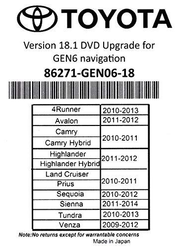 Price comparison product image 2019 Toyota Navigation DVD Gen 6 U9A 18.1 Map GPS Update