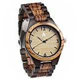 Treehut Zebrawood and Ebony Wooden Men's Watch – Tri-Fold Clasp – Stainless S...