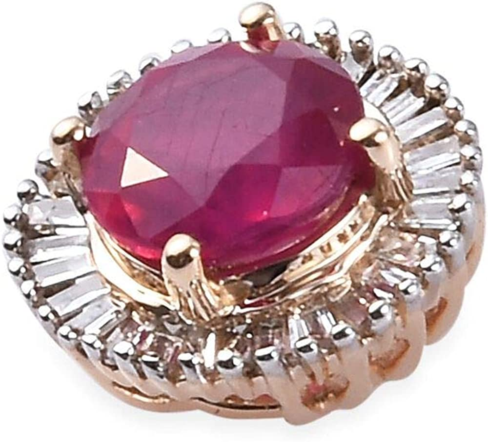9ct Yellow Gold Ruby and Diamond Halo Pendant 1.30 Ct.