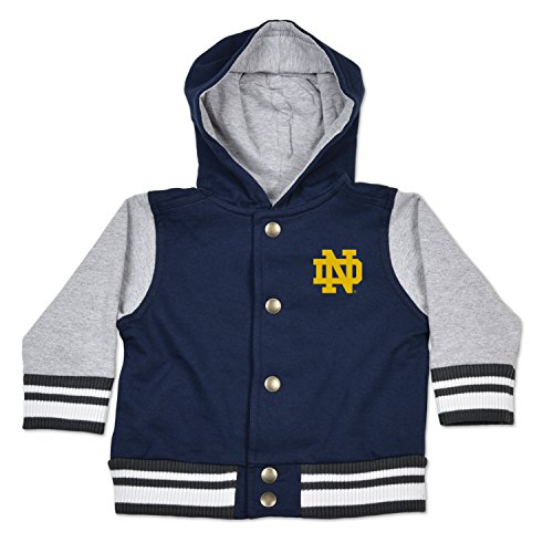 Notre Dame Irish Jacket - NCAA Notre Dame Fighting Irish Children Unisex Infant Letterman Jacket, 6 Months, Navy/Oxford