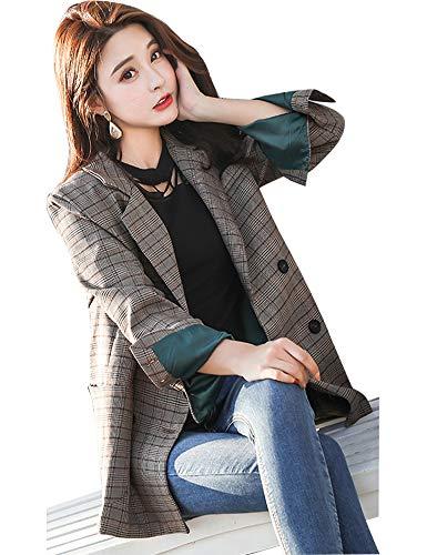 IDEALSANXUN Women's Spring Fall Classic Plaid Button Front Suit Collar Blazer Jackets Slim Fit (Plaid, Large)