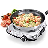 SUNAVO Hot Plates for Cooking 1800W Electric Double Burner with Handles 6 Power Levels Cast-Iron