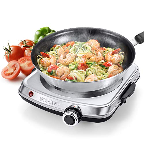 SUNAVO Hot Plates for Cooking, 1500W Electric Single Burner with Handles, 6 Power Levels Hot Plate for Kitchen Camping RV and More