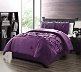 Purple and Turquoise Duvet Cover 3 Piece QUEEN size Solid DARK PURPLE Double-Needle Stitch Puckered Pinch Pleat Stripe Duvet Cover Set