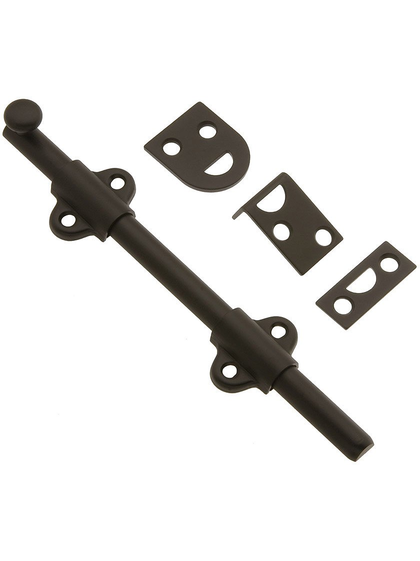 6'' Light Duty Surface Bolt In Solid Brass in Oil Rubbed Bronze by B&M Hardware