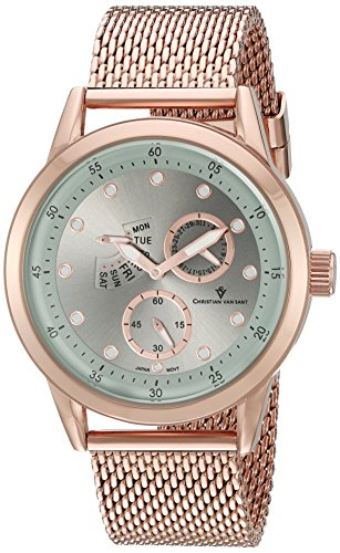 Christian Van Sant Men's 'Rio' Quartz Stainless Steel Watch, Color:Rose Gold-Toned (Model: CV8713)