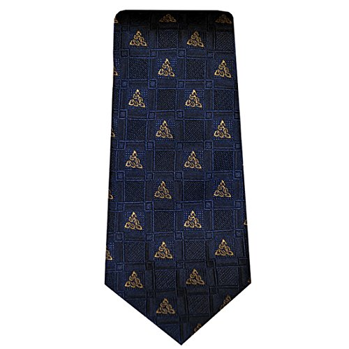 Irish Tie 100% Silk Navy Celtic Knots Made in Ireland - Irish Silk Tie