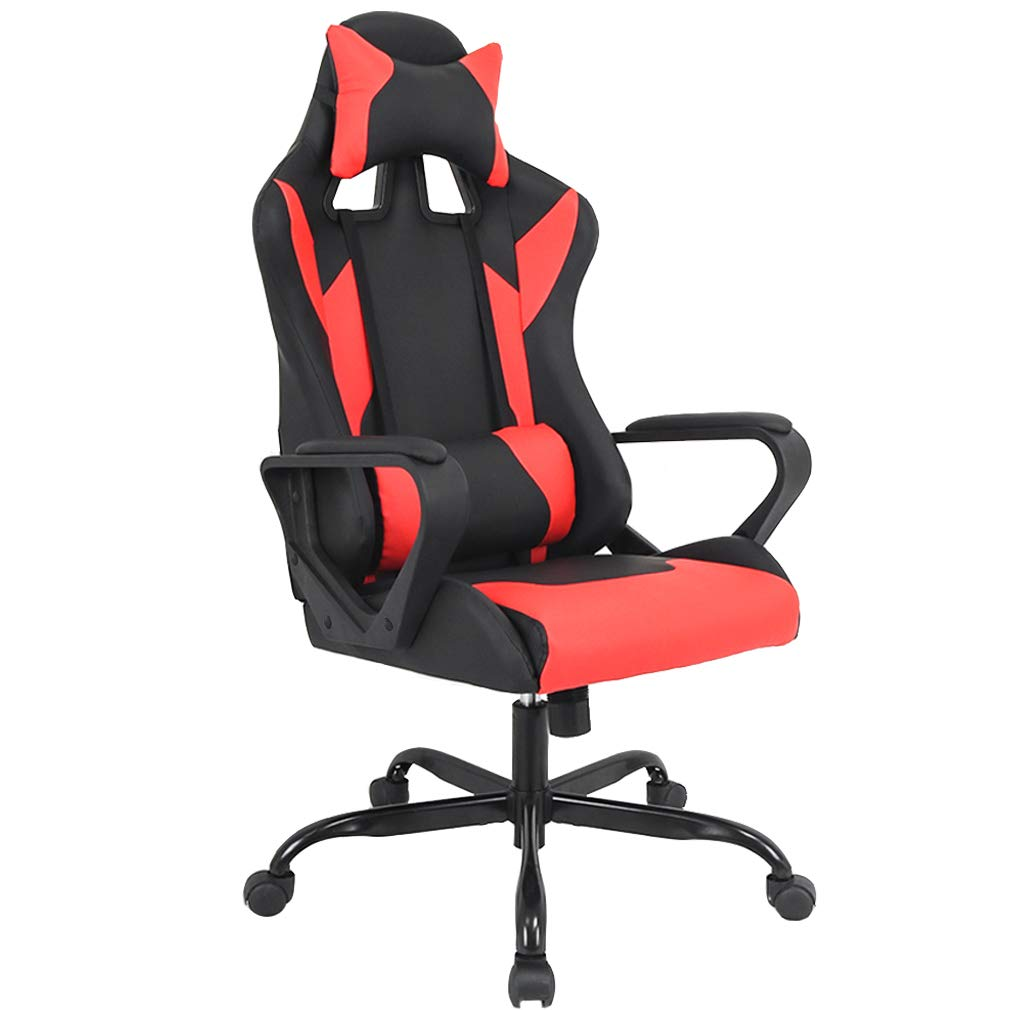 Gaming Chair Racing Chair Office Chair Ergonomic High-Back Leather Chair Reclining Computer Desk Chair Executive Swivel Rolling Chair with Adjustable Headrest Lumbar Support for Women, Men Red