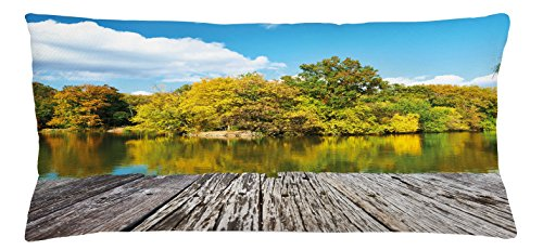 Landscape Throw Pillow Cushion Cover by Lunarable, New York City Central Park in a Autumn Day Near a Bay with River, Decorative Square Accent Pillow Case, 36 X 16 Inches, - Park Square Bay