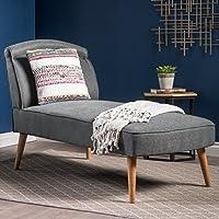 Jolie Mid Century Modern Slate Grey Fabric Chaise Lounge