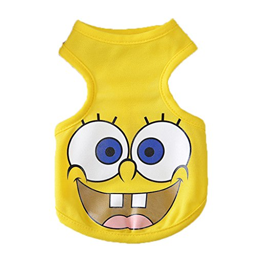 2017 Halloween Poodle Chihuahua Dog Cat Spongebob Cosplay Costume Party Vest(Spongebob, xsmall)