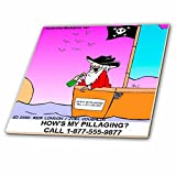 Londons Times Famous People Places Books Cartoons - PIRATE SAFETY - 4 Inch Ceramic Tile (ct_1573_1)
