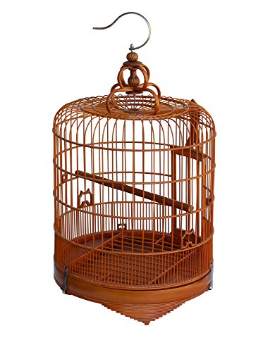 Small/Unique/Gift Chinese Oriental Round Shape Bamboo Wood Birdcage Display Acs3693 -