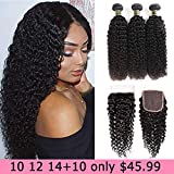 Aodai Hair Brazilian Virgin Curly Hair Weave 3 Bundles with Lace Closure Free Part 4x4 8A 100% Unprocessed Brazilian...