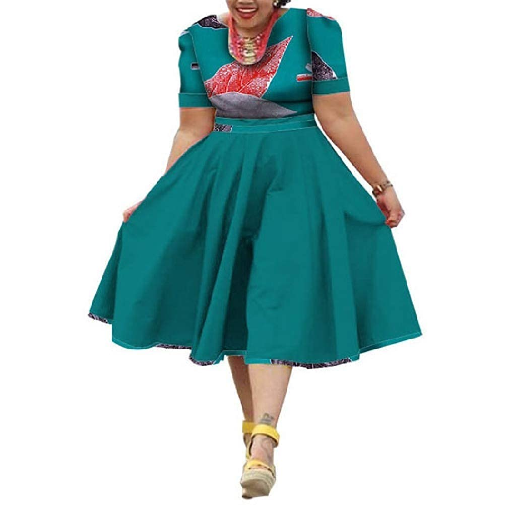 14 Mfasica Women Plus Size Midi Floral African Print MidLong Swing Dresses