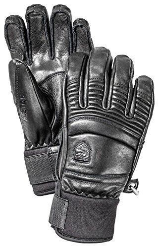 Hestra Mens Ski Gloves: Fall Line Winter Cold Weather Leather Gloves, Black, 9