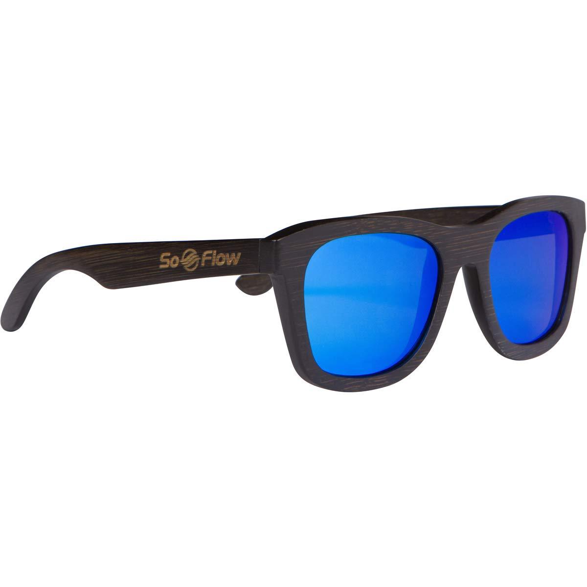 SoFlow Black Bamboo Wood Sunglasses Polarized bluee for Men & Women Wooden Shades