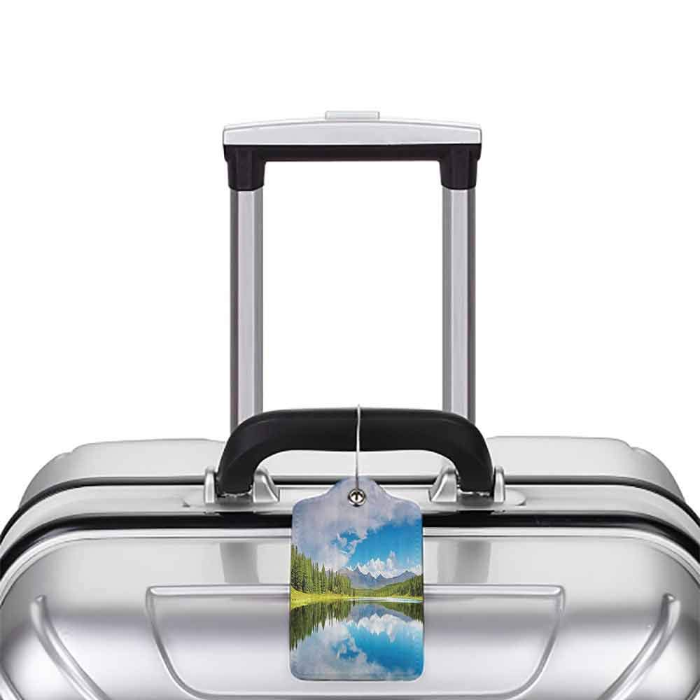 Flexible luggage tag Lakehouse Decor Collection Lake and Reflection Scene at the Skirts of Altai Mountain Covered with Spring Forest Picture Fashion match W2.7 x L4.6