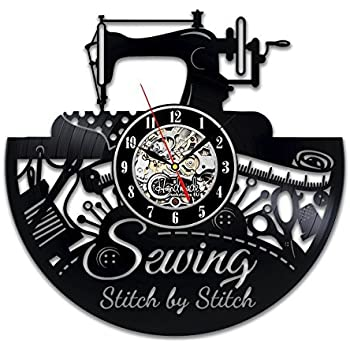 Amazon.com: Sewing Wall Clock Room Sign Equipment Set ...