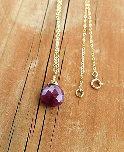 Cherry Red Genuine Ruby Gemstone Pendant 14K Gold Filled 18 Inches Necklace Gift For Women