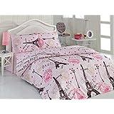 Pink Ranforce 100% Turkish Cotton 4 Pcs Paris Eiffel Tower Heart Theme Themed Full Queen Size Quilt Duvet Cover Set Bedding Linens