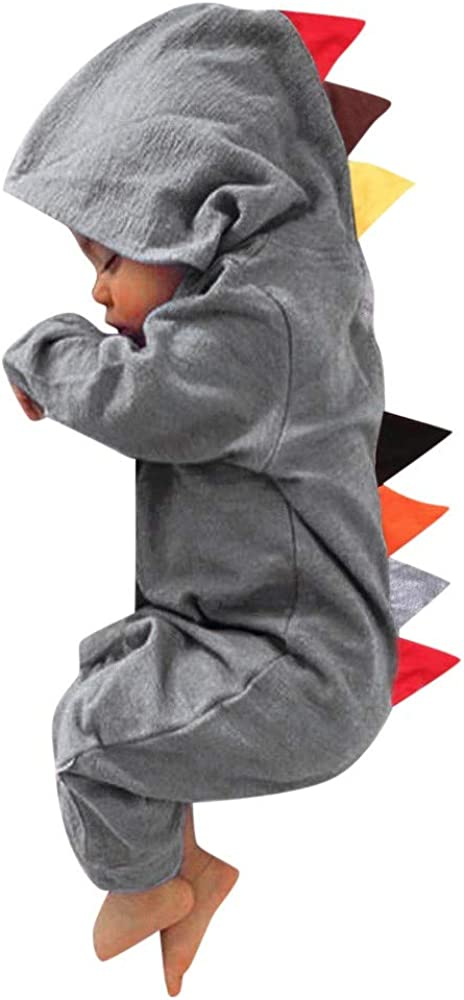 Charberry Newborn Baby Boys Girls Dinosaur Zipper Hooded Romper Jumpsuit Outfits Clothes