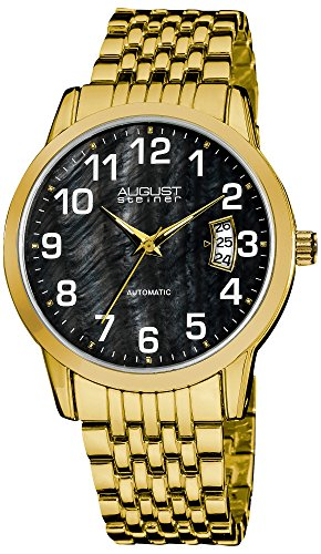 August Steiner Men's AS8026YGB Black Mother of Pearl Automatic Yellow Gold Bracelet Watch