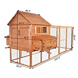 Eight24hours 12FT Large Wooden Poultry Chicken Coop Hen House Run Nest Box Rabbit Coop
