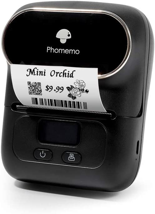 Phomemo-M110 Label Maker - Portable Bluetooth Thermal Label Printer Apply to Clothing, Jewelry, Retail, Mailing, Barcode, Compatible for Android & iOS System, with 1 40×30mm Label Roll,Black