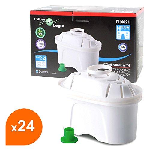 FilterLogic FL402H - 24er Pack Filterkartuschen für Tischwasserfilter - kompatibel mit Brita ® Maxtra ® für Bosch, Siemens, Tassimo TAS40, TAS45, TAS55, TAS65, TAS85, T45, T65 u.a. / BWT Filterkannen / Bosch Filtrino Heißwasserspender - 463675 - 00463675