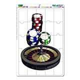 Graphics and More Roulette Wheel Table Poker Chips Gambling Vegas Mag-Neato's Novelty Gift Locker Refrigerator Vinyl Puzzle Magnet Set