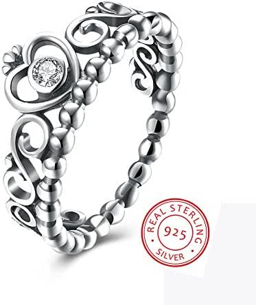 EnjoIt Fashion 925 Sterling Silver Crown Princess Diamond Ring Women's Love Rings